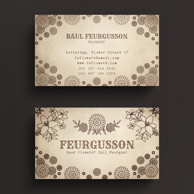 Vintage business card template psd file premium download vintage business card template premium psd flashek Images