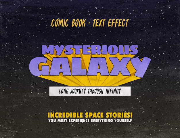 Vintage comic book text style Premium Psd