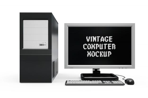 빈티지 컴퓨터 모형 절연 무료 PSD 파일