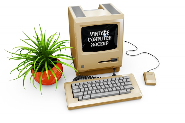 Vintage computer mock-up isolated Free Psd