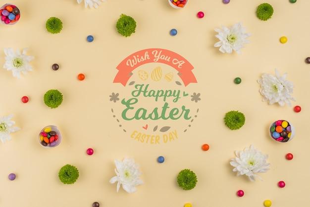 Mockup di giorno di pasqua dell'annata con i fiori Psd Gratuite