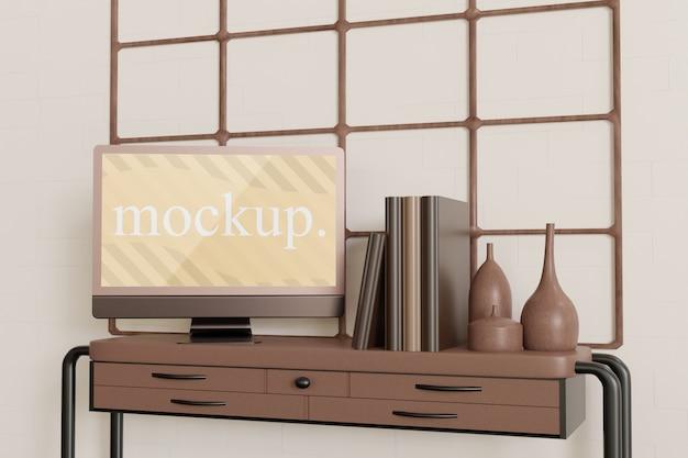 テーブルの上のビンテージモニターのモックアップ Premium Psd