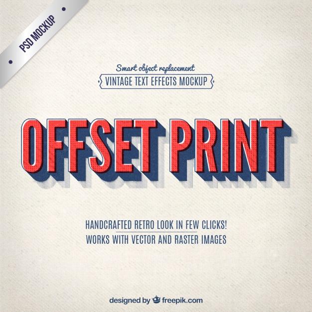 Vintage offset print lettering Free Psd
