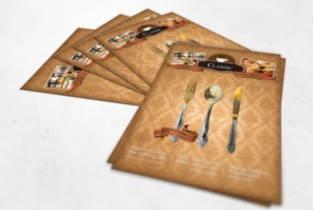Vintage restaurant flyer with damask texture Free Psd