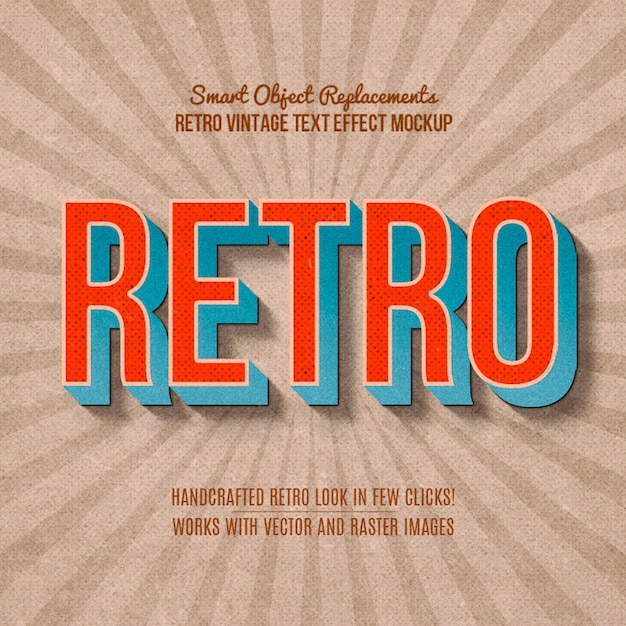 Vintage retro text effect Premium Psd