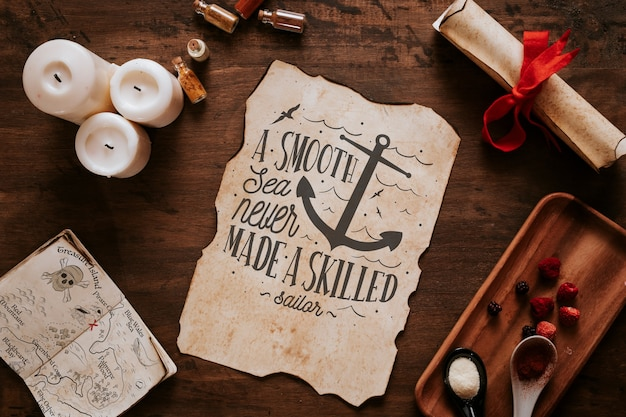 Vintage  sailing concept with spices and page Free Psd
