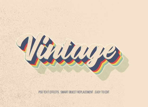 Vintage text effect Premium Psd