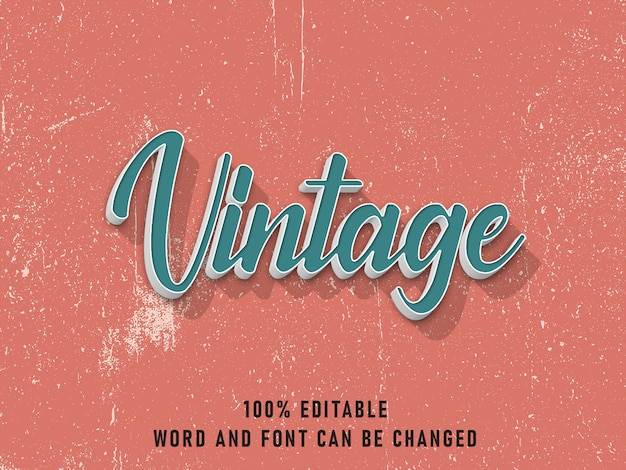 Vintage text style effect editable color with grunge style retro Premium Psd