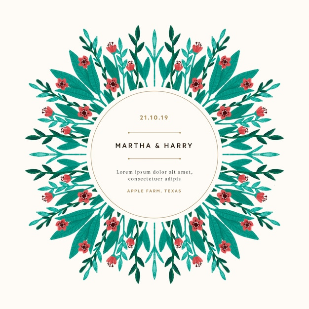 Vintage wedding template with red flowers Free Psd