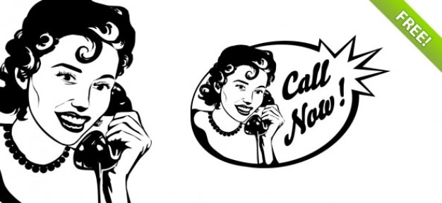 Vintage Woman on Phone PSD Graphic Free Psd