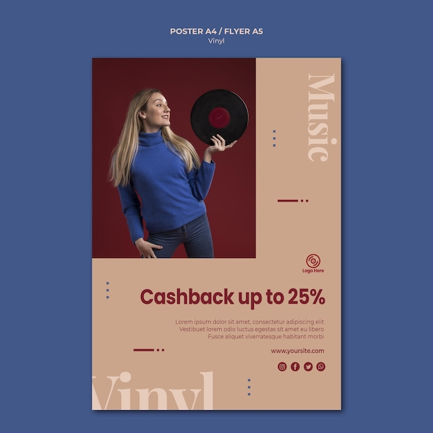 Шаблон рекламного плаката с виниловым кешбэком Бесплатные Psd