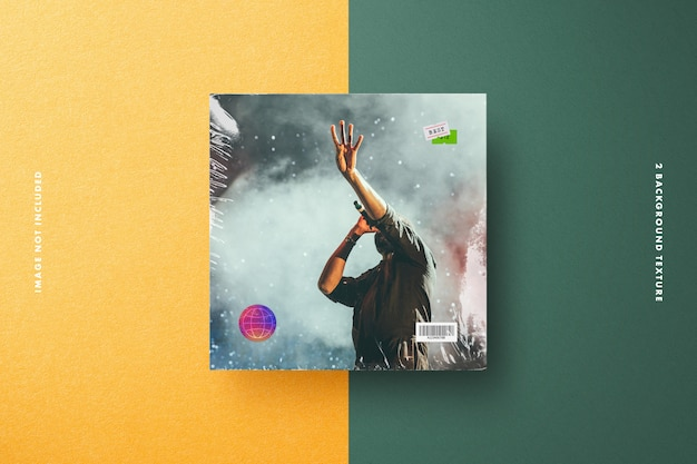Vinyl cover mockup with plastic wrap, price tag & holographic security label Premium Psd