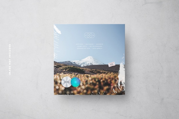 Vinyl cover mockup with plastic wrap, price tag & holographic security labels Premium Psd