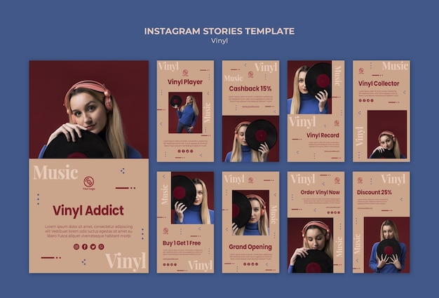 Шаблон рассказов виниловых instagram Бесплатные Psd