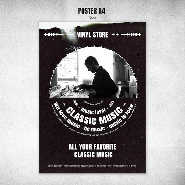 Vinyl store flyer template Free Psd