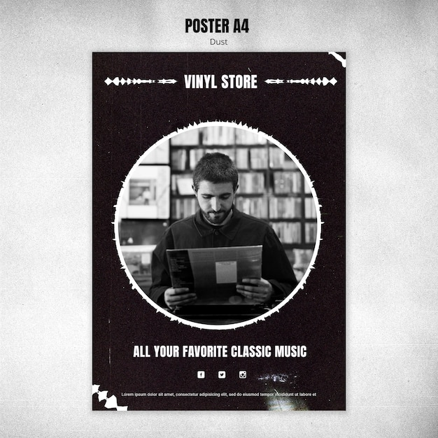 Vinyl store poster template Free Psd
