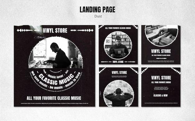 Vinyl store social media post template Free Psd