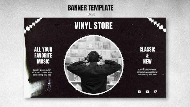 Vinyl store template banner Free Psd