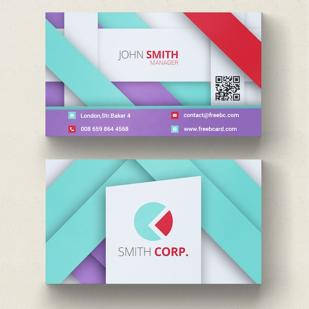Violet, blue and red geometric business card Free Psd