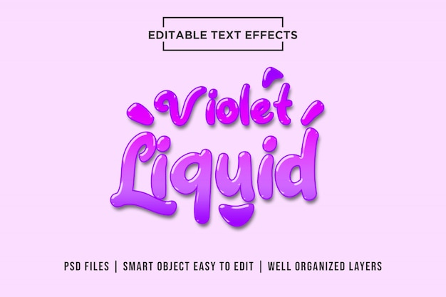 Violet liquid editable text effect mockup Premium Psd