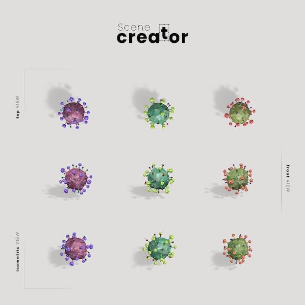 ウイルス細菌シーン作成者のモックアップ 無料 Psd
