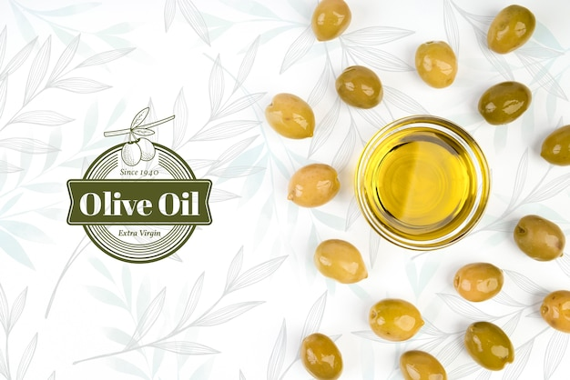 Virgin olive oil surrounded by olives Free Psd