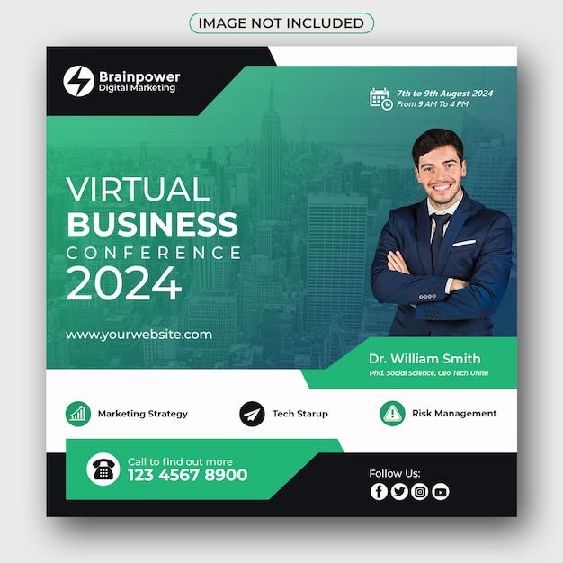 Virtual business conference social media banner Premium Psd