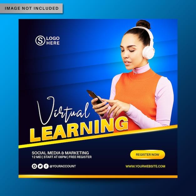 Virtual Learning Social Media Post Banner Template Premium Psd File