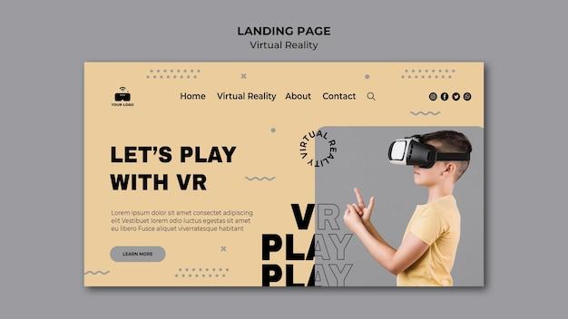 Virtual reality landing page design Free Psd