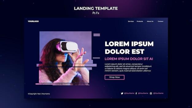 Virtual reality landing page template Premium Psd
