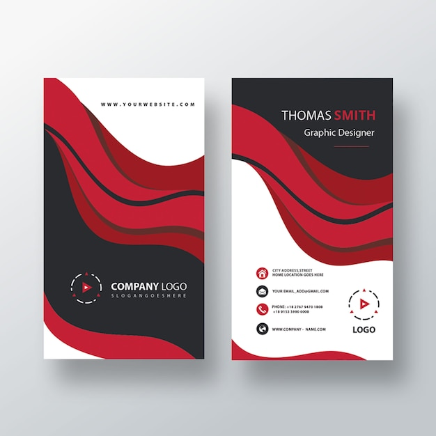 Visit card template vertical design Free Psd