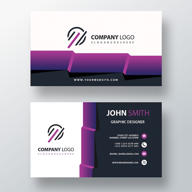 Visit card with abstract detailed Free Psd