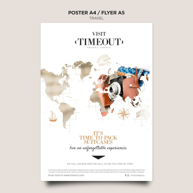 Visiting and travel poster template Free Psd