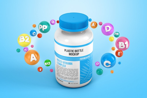 Vitamins around a plastic bottle mockup Premium Psd
