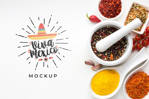 Viva mexico mock-up and assortment of spices Free Psd