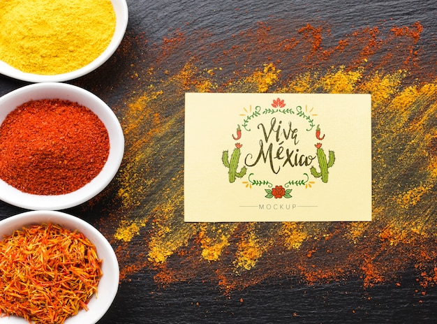 Viva mexico mock-up card with cacti and spices frame Free Psd