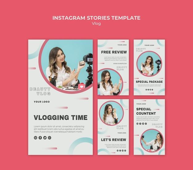 Modello di storie di instagram concetto vlog Psd Gratuite