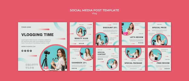 Modello di post social media concetto vlog Psd Gratuite
