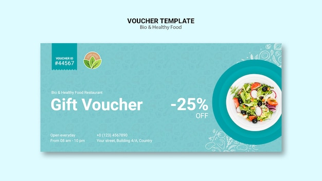 Vocuher from restaurant with healthy food Free Psd