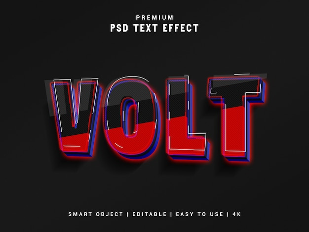 Volt text effect, 3d реалистичный макет Premium Psd