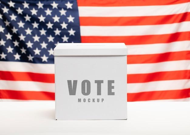 Макет голосования и флаг единого государства америки Бесплатные Psd