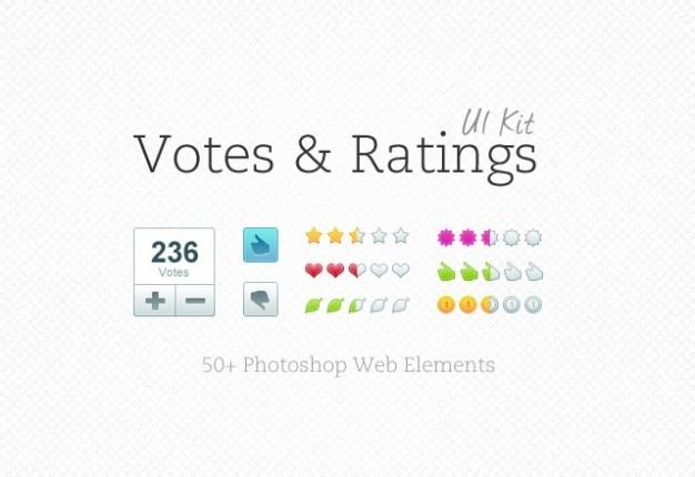 Voti con rating elementi web Psd Gratuite