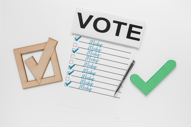 Voting for elections mock-up with tick mark Free Psd