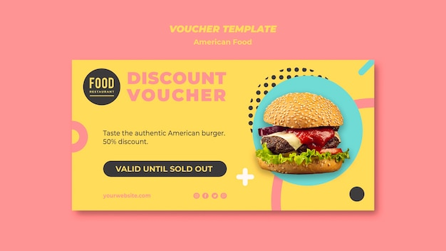 Voucher for american food with burger Free Psd