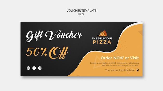 Ваучер шаблон пиццы 50% скидка Бесплатные Psd