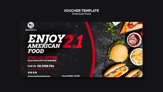 Voucher template american food Free Psd