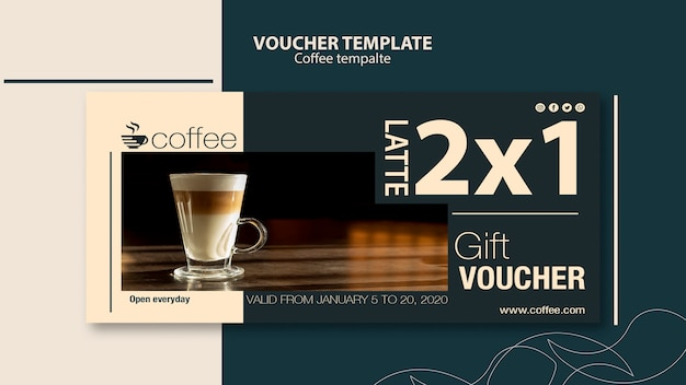 Voucher template concept with coffee Free Psd