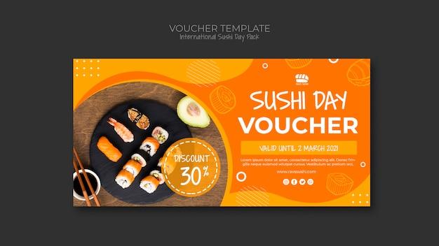 寿司レストランのバウチャーテンプレート 無料 Psd