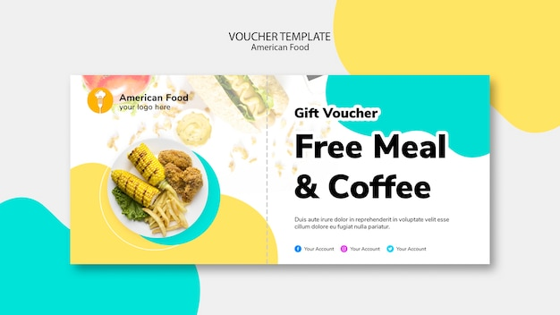 Voucher template for free meal Free Psd