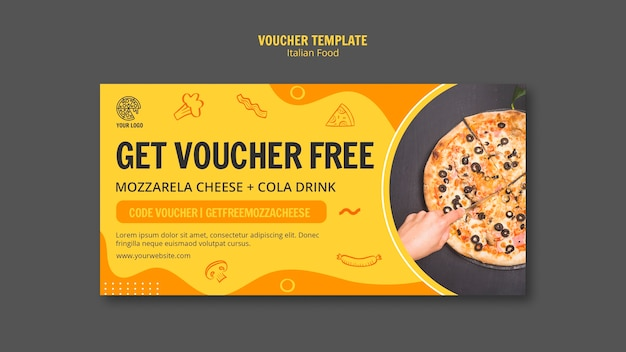 Voucher template for italian food bistro Free Psd